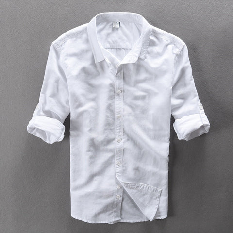 New Casual Linen Shirt Men White Solid Long Sleeve Shirts Men Cotton Brand Mens Shirt
