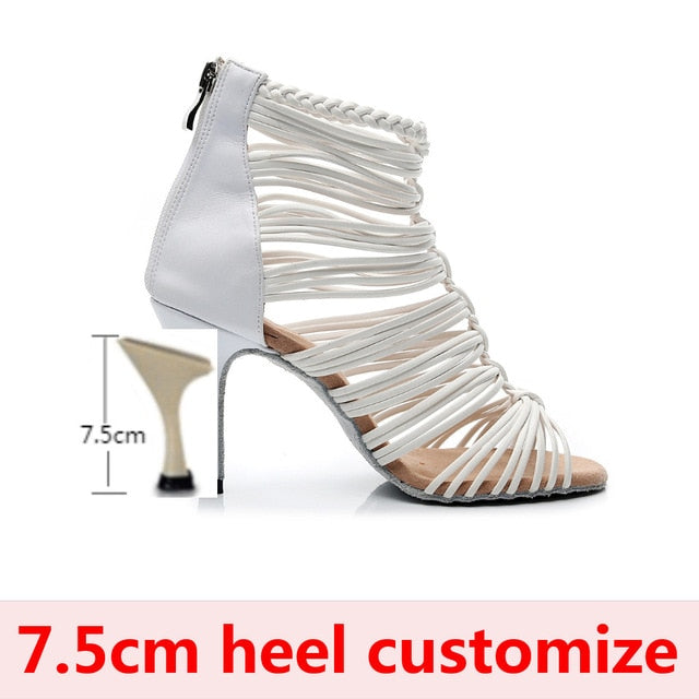 Jazz Ballroom Latin Dance Shoes For Dancing Women Standard Waltz Tango Heel Open Toe Boot White Boots