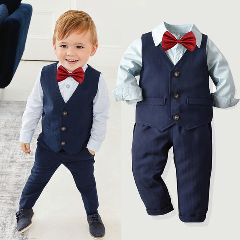 Boys Formal Weeding Suit For Kids Clothes Set Gentleman T-shirt+Vest+Pants Outfits Fashion Toddler Boy Clothes Children Clothing
