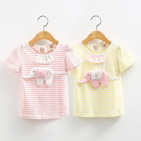 Summer Pure Cotton Yellow Pink Solid Color Patchwork Elephant Decoration Short Sleeve O-Neck T-Shirt For Girl