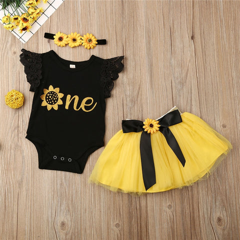 3pieces Newborn Set One Year Birthday Baby Girls Clothes Set One Letter Bodysuits Chrysanthemum Hairbands Yellow Skirts Baby Set