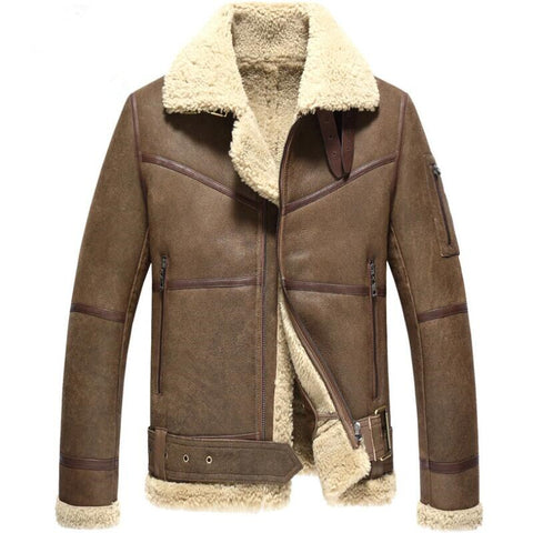 male wool short coat man winter shearling jacket