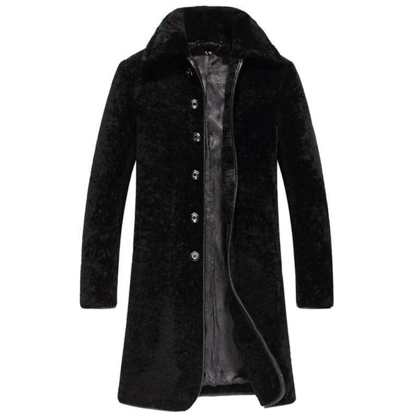Wool long coat man winter shearling jacket