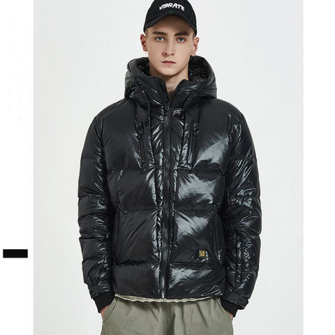 short winter men down jacket white and black color