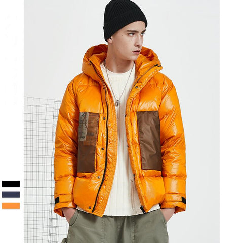 Man wear short winter down jacket