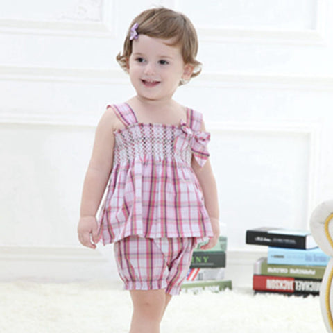 Summer Baby Girls Clothes,Brand Cotton Children's Clothing Plaid Sleeveless Tops + Shorts Pants,Kids Casual Wear (6 Mths-3 Yrs)