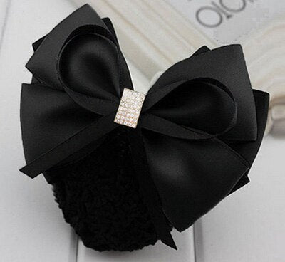Handmade Office Lady Bow Pearl Tie Barrette Hair Clip Cover Bowknot Net Bun Snood Hair Accessory