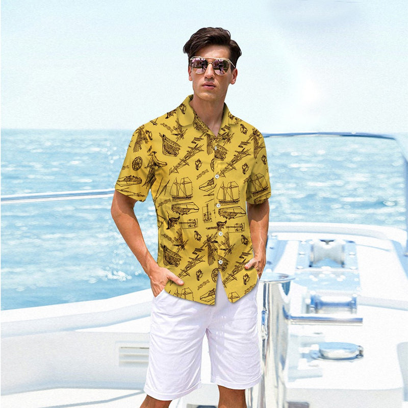 Mens Clothing Short Sleeves Shirt Set Coconut Tree Printing Summer Male Blouse Set Cotton Mans Wear