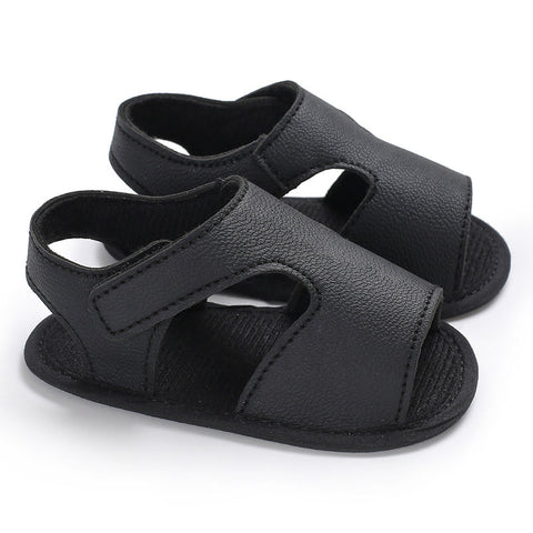 New Summer Baby Boys Sandals Soft Kid Leather  Prewalker Shoes Solid  Sole Boys