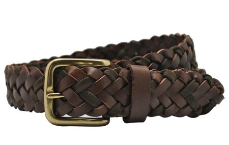 Braided Leather Men's Belt Hand Knitted Genuine Leather with Brass Pin Buckle Casual Style Woven Tanned