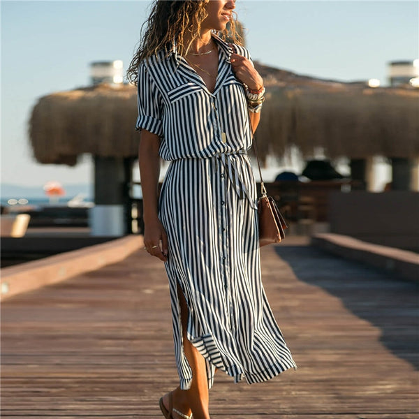 Spring High Waist Tunic Office Ladies Striped Shirt Dress Casual Long Sleeve Elegant Party Dress Boho Beach Dress Vestidos XXL