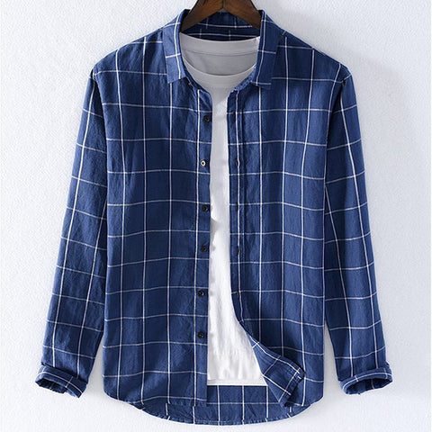 100% Linen shirts mens long sleeve shirts camisa masculina casual lapel plaid mens clothes tops male shirts