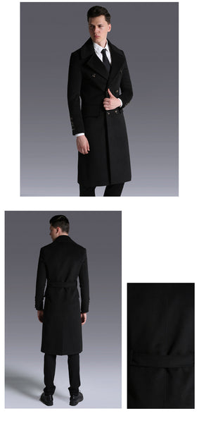 New High Quality Winter Wool Blends Long Trench Coat mens Overcoat Style Slim Waist Belt Long Jacket Men Clothing
