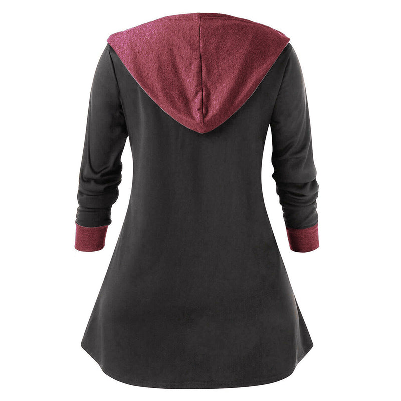 Women Hooded Drawstring Zipper Shirts Loose Color Block Splicing Blouse and Top