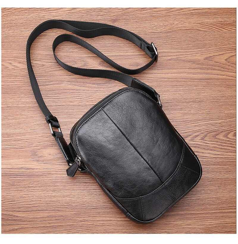 Leather shoulder bag men casual fashion trend mini diagonal cross head layer leather men's small bag