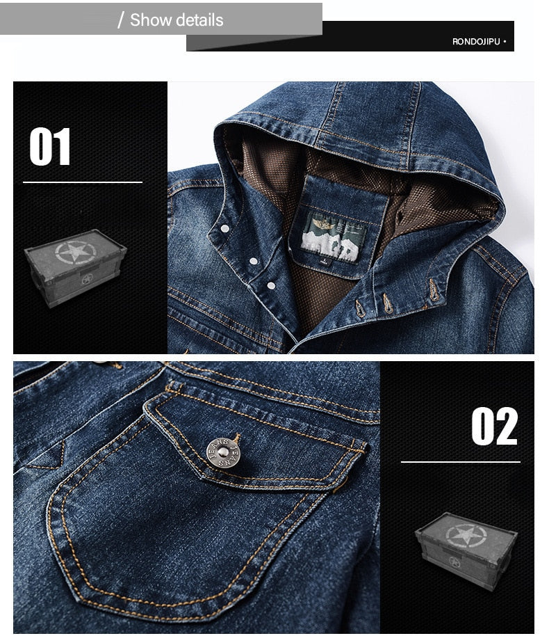Spring Autumn Jacket Men Coat Hooded Single Breasted Windbreaker Cotton Denim Jacket Solid Military Chaquetas Hombre Size M-4XL