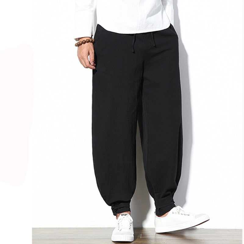 Mens Cotton Pants Loose Elastic Waist Drawstring Male Causal Jogger Trousers Full Length Plus Size S-5XL Solid Color