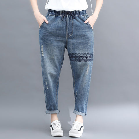 spring new denim trousers women elastic waist cotton boyfriend casual jeans embroidery girl female student pants Plus Size