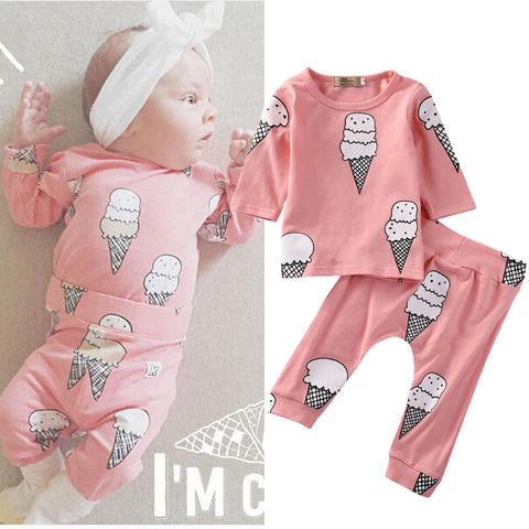fa3f80ba 2Pcs Newborn Baby Girls Clothes Ice Cream T-shirt Tops Long Pants Outfit  Set Clothing
