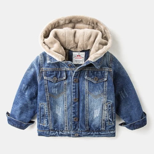 Boys'Autumn and Winter Jeans Jacket with Fleece Thickening Children's Winter Dress New Westernized Boys' Jacket