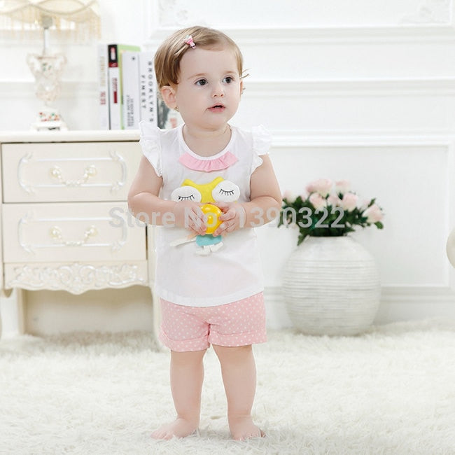 6-36 Month cotton children's clothing sets,summer baby girls clothes,new casual  cartoon sleeveless Tops + pants kids clothes