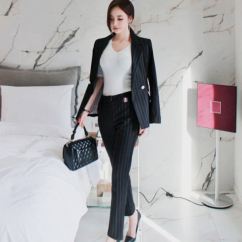 Striped Suit Jacket-Autumn and Winter New Temperament Double-breasted Striped Suit Jacket Pants Professional Suit