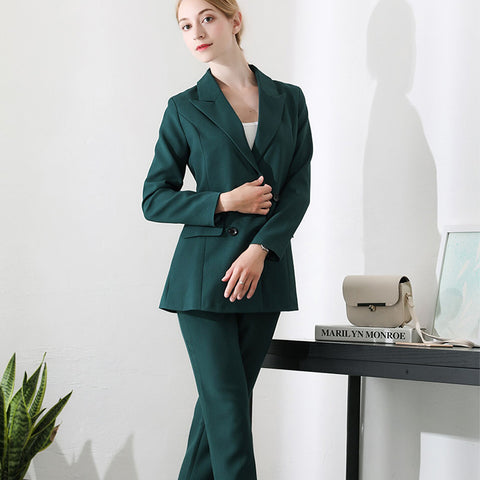 Professional wear popular suit new women's solid color temperament casual self-cultivation suit two-piece
