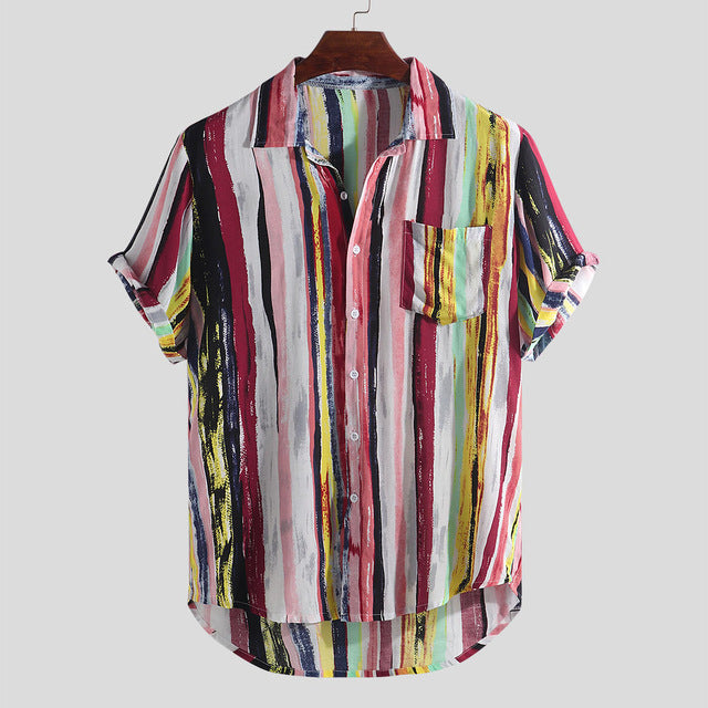 New Men Summer Striped Shirts Casual Loose Print Shirts Men Male Short Sleeve Shirt Clothing Camisa Plus Size