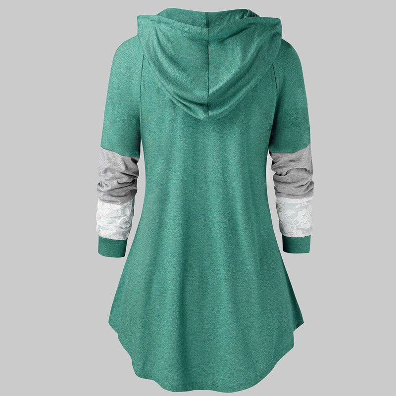 Women Shirts Winter Spring Hooded Drawstring Tunic Tops Looses Lace Long Sleeve Sweatshirt Tops