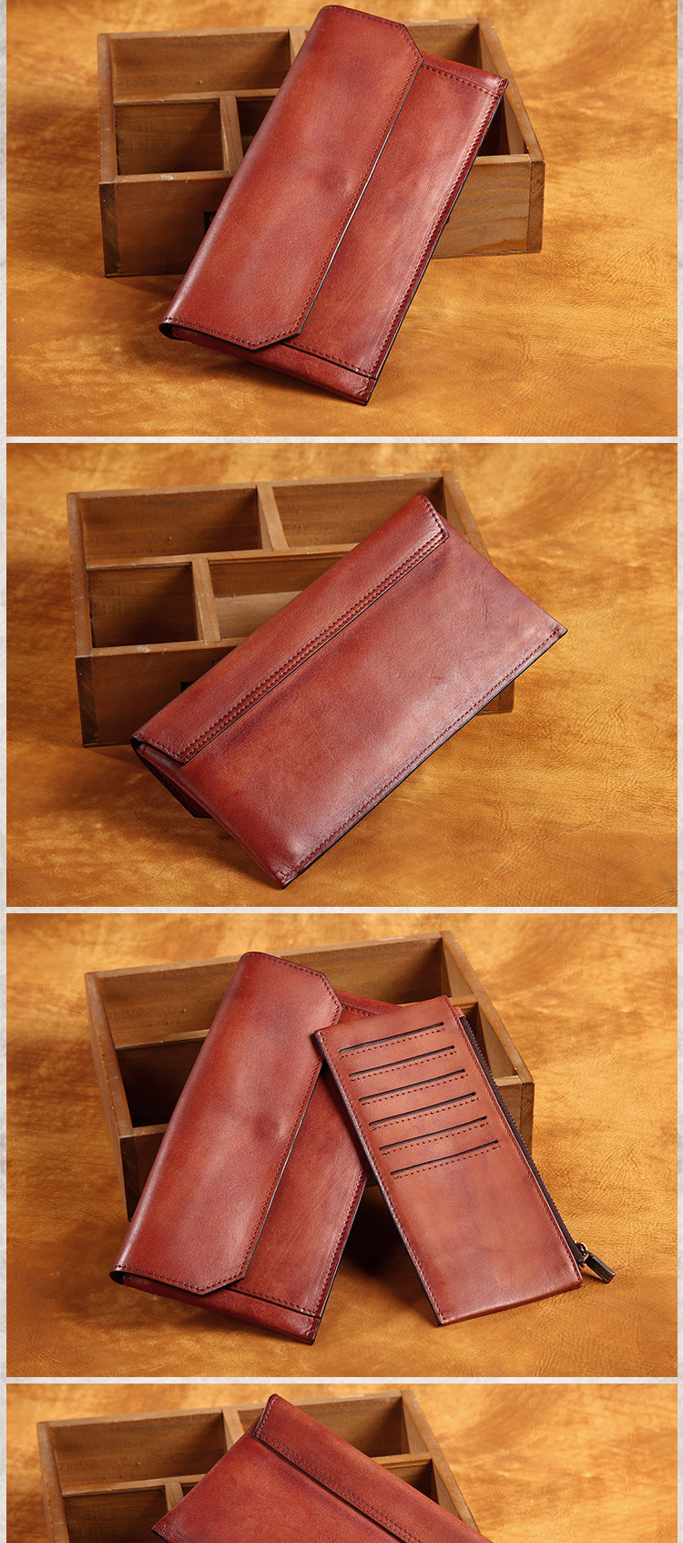 Men'S Long Wallet Genuine Leather Vegetable Tanned Leather Card Holder First Layer Of Fashion Leisure Handbag Crafts bag