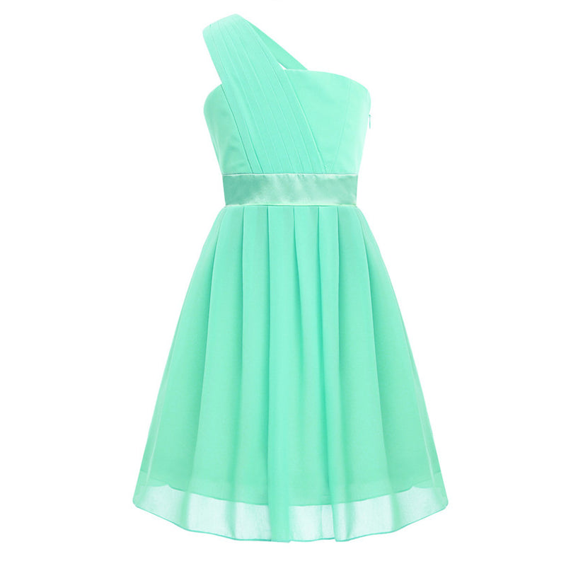 Mint Green Girls Flower Formal Party Ball Gown Prom Princess Bridesmaid Wedding Children Tutu Tulle Dress Size 4-14 Years