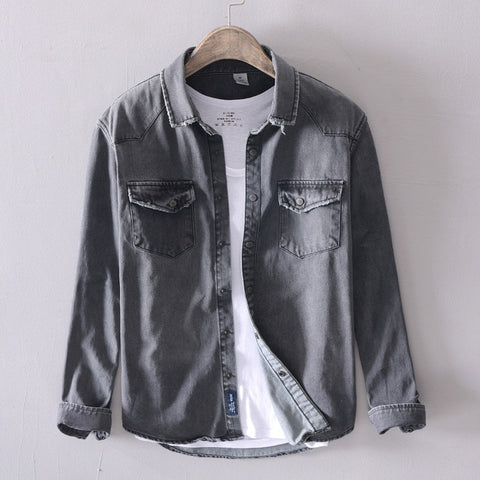New men casual Denim shirt slim cotton long sleeve spring solid soft tops man High quality gray Denim shirt
