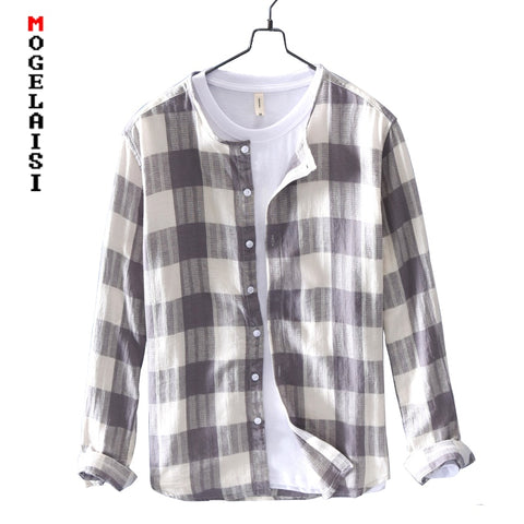 New brand mens plaid shirt long sleeve casual linen cotton breathable mens shirts comfortable soft tops camisas hombre LZ-761
