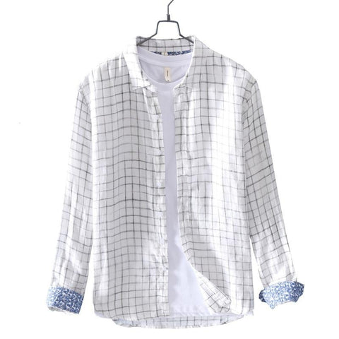 New Spring linen cotton shirt men casual small plaid linen Comfortable soft man white shirt