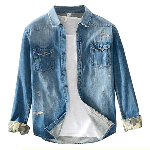 Denim shirt men casual long sleeve 100% cotton tops high quality spring pocket comfortable shirt for man clothing 3XL