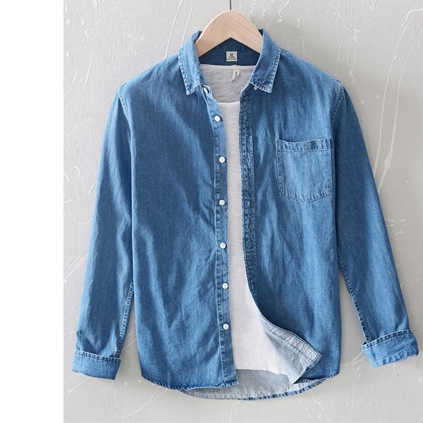 Casual Denim shirt men new spring Comfortable thin solid tops for men clothing long sleeve soft high quality shirts 3XL