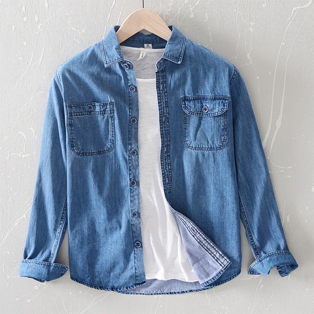 Mens Denim shirt long sleeve 100% cotton Jeans Cardigan  casual Shirts Tops for man clothing