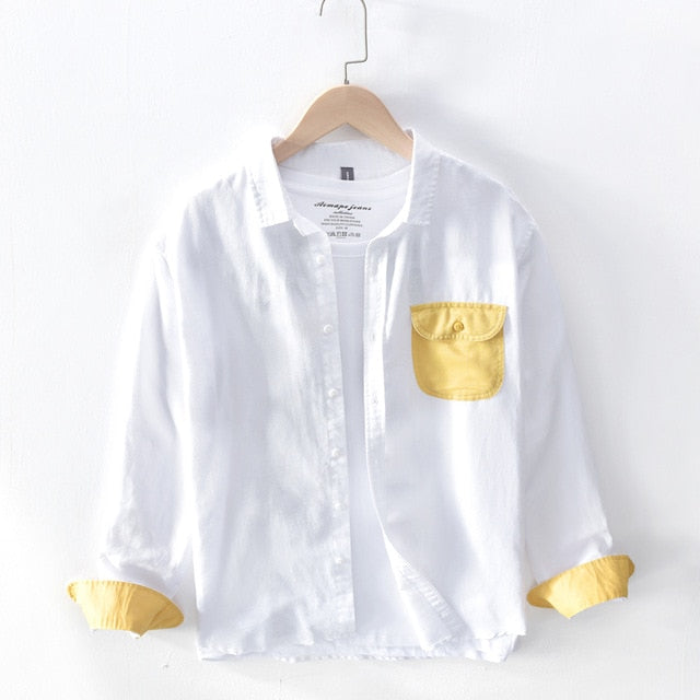 Men casual shirts Linen cotton long sleeve hot Stitching pocket tops Breathable high quality shirt