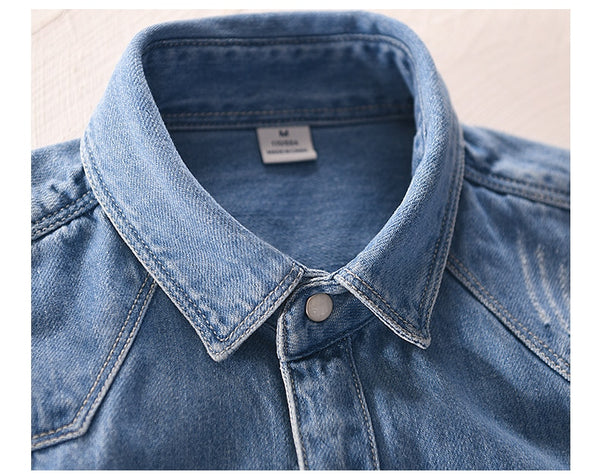 Men Shirts Jeans Blue Broken Retro Man Shirt Denim Safari Style Pockets Shirt Male