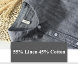 brand Italy long sleeve men shirt linen four season clothing spring cotton shirts men solid casual
