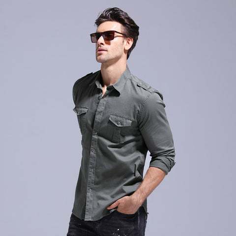 Clearance Spring 100% Cotton Jeans Shirt Men Slim Fit Casual Social Business Mens Dress Shirts Epaulets Mens Shirts