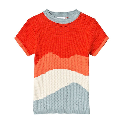 New Children Short-sleeve Wave Sweater Kids Boys Girls Knitted Sweater Fashion Summer Girls Sweater
