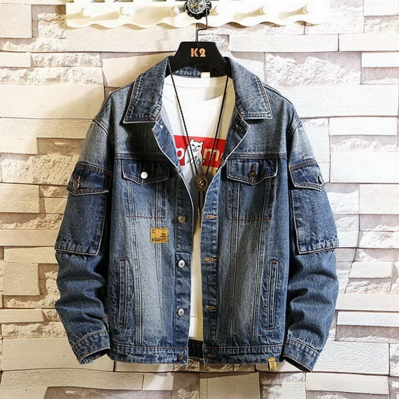 Autumn Spring Denim Jeans Jacket Men Stand Collar Casual Clothes