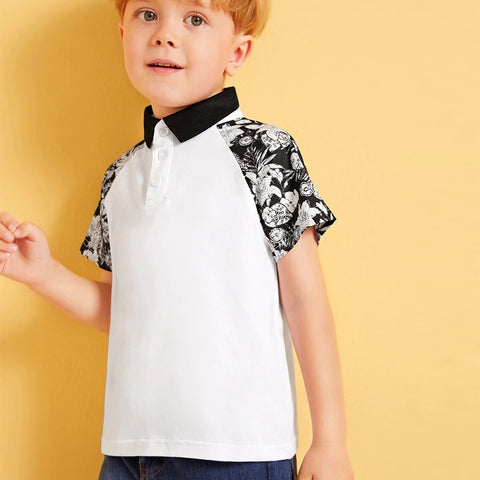 New Summer Children Toddler Baby Boys Splicing Printing Sleeve Lapel Button Short Sleeve Kids polo-Shirt Outfits Clothes