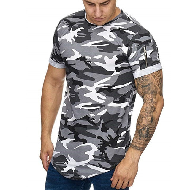 New Men t-shirt Bodybuilding Slim O-Neck Short Sleeve tShirts Men Casual Joggers Fitness Camouflage Tees Tops Gyms Clothing