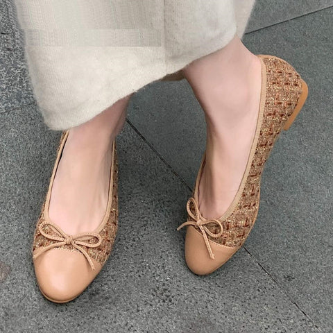 pot full grain leather round toe shoes women beauty lady bowtie street design shallow slip on summer flats