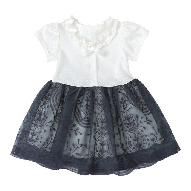 Summer Kids Girls Casual Short Sleeve Bowknot Design Dress Costume Baby Children Mesh Dresses