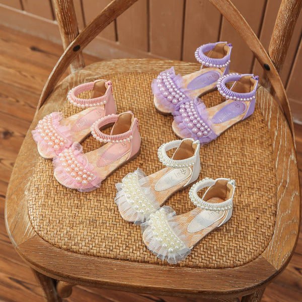 Summer New Girls Sandals Princess Shoes Pearls Lace Children Shoes for Kids Beach Sandals Leather Roman Shoes Soft