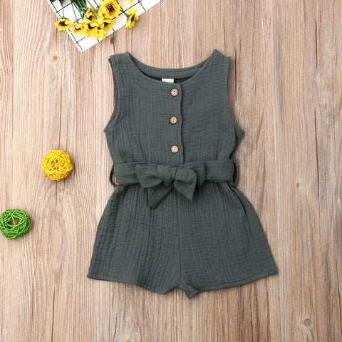Summer Newborn Baby Girl Clothes Sleeveless Solid Color Cotton And Hemp Romper Jumpsuit Belt One-Piece Outfit Sunsuit