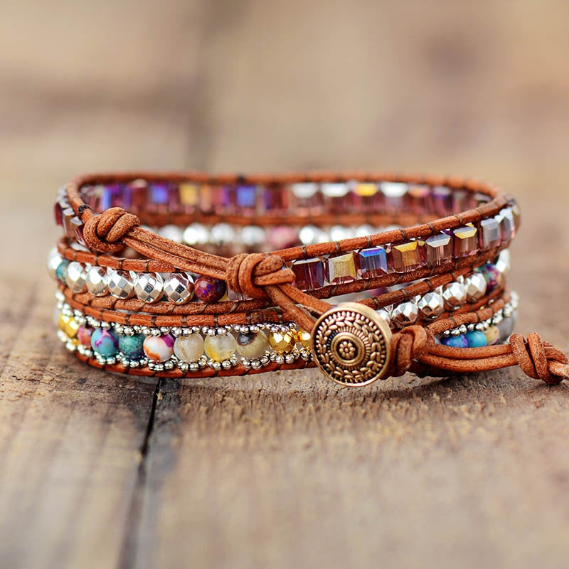 Exclusive Vintage Wrap Bracelets W/ Natural Stone Crystals Beaded Triple Statement Bracelet Bohemian Beads Jewelry